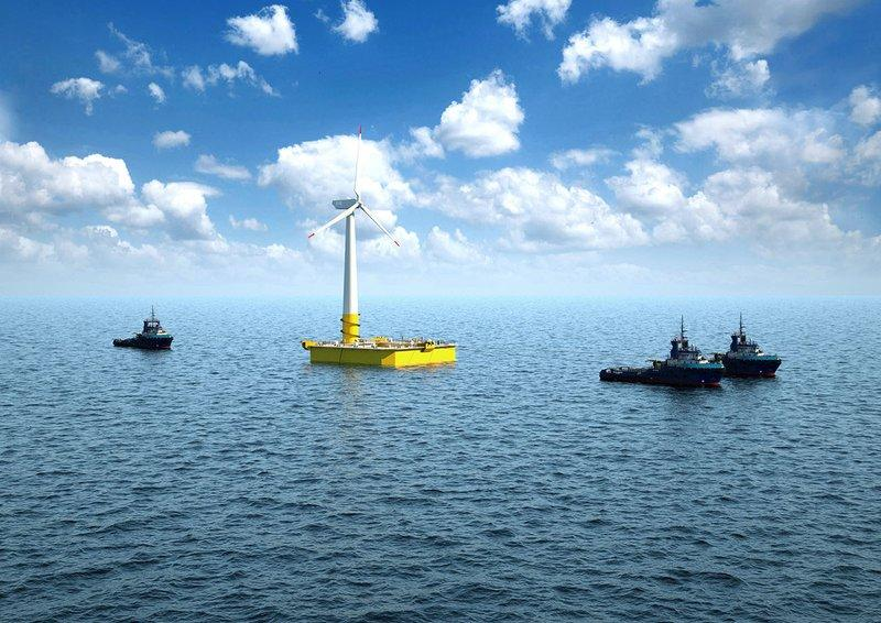 floating wind turbine animation